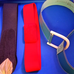 Vintage Belt bundle (3). Red, black and blue/green